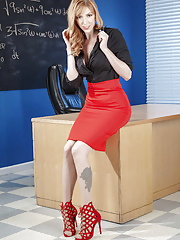Teacher mature Lauren Phillips taking off her skirt and lingerie in classroom