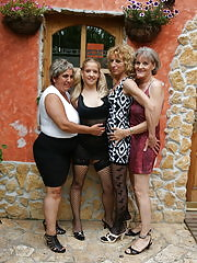 Three mature lesbians share one hot babe