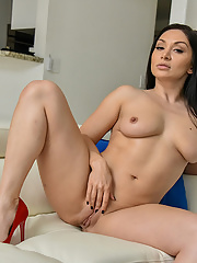 Top rated Lea Lexus takes a giant dildo deep in her tight twat