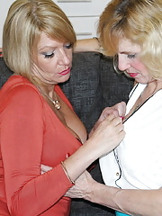 Two British housewives play with each other