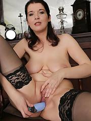 Wearing stockings horny Fernanda Jerson enjoys her blue dildo