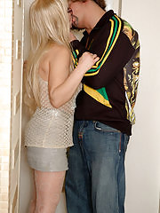 Well-shaped milf pushes aside her panties welcoming a guy to drill her muff
