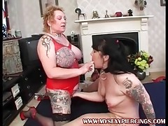 Tattooed milf sucking bbc and ass licking