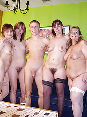 Group of naked mature women are