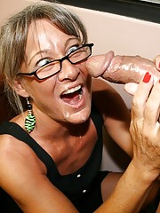 milf glasses amateur with Mature blowjob