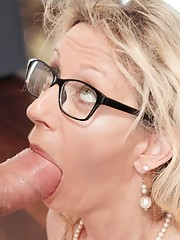 Mature short hair blonde with glasses big tits