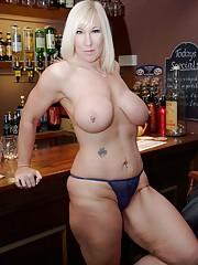 Mature nude at bar